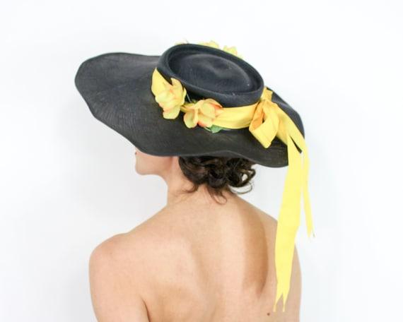 1940s Black Straw Sun Hat | 40s Black Wide Brim S… - image 2