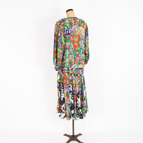 1980s Colorful Diane Freis Blouse & Skirt | 80s O… - image 8