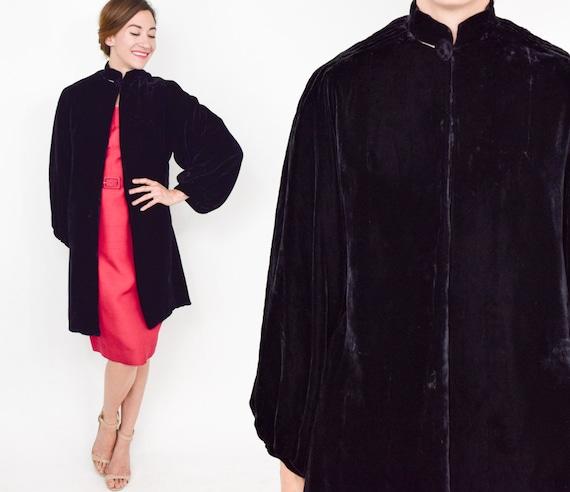 1930s Black Silk Velvet Coat | 30s Black Velvet Ev