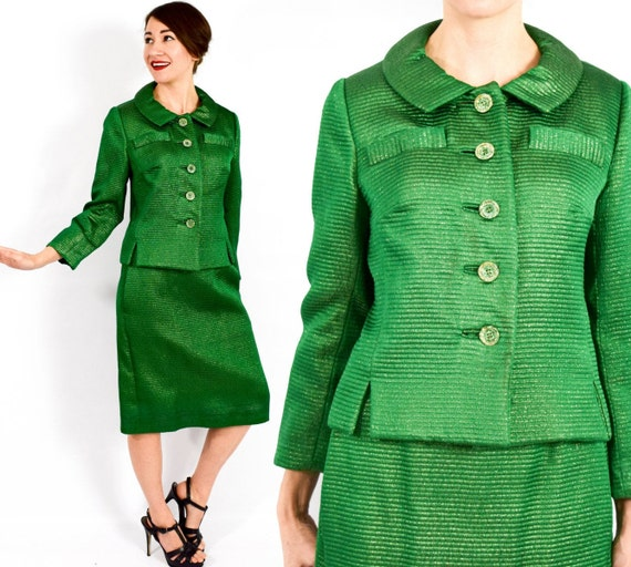 1960s Green Evening Suit | 60s Green Silk Suit | M