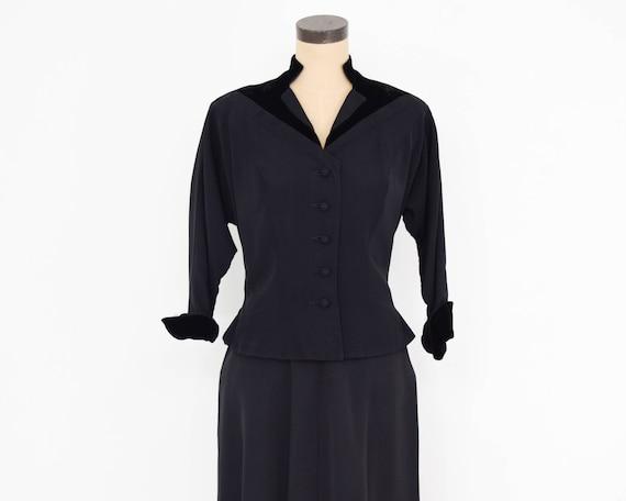 1940s Black Faille Suit | 40s Black Faille & Velv… - image 8