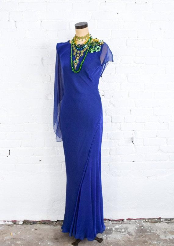 1990s Dark Blue Chiffon Evening Gown | 90s Blue I… - image 8