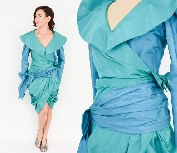 1990s Blue Silk Cocktail Dress | 90s Turquoise Sil