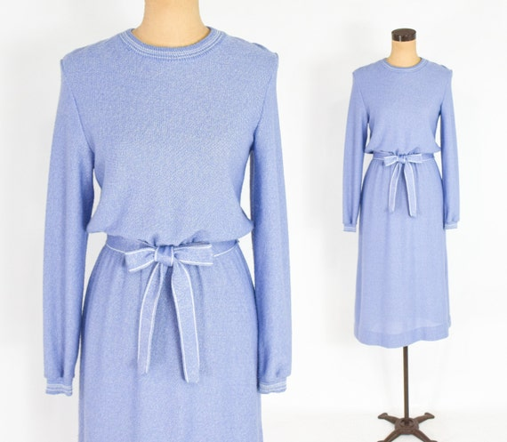 1970s Lavender Knit Dress | 70s Lavender Blue Knit