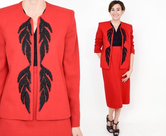 1980s Red Wool Suit | 80s Red & Black Beaded Suit
