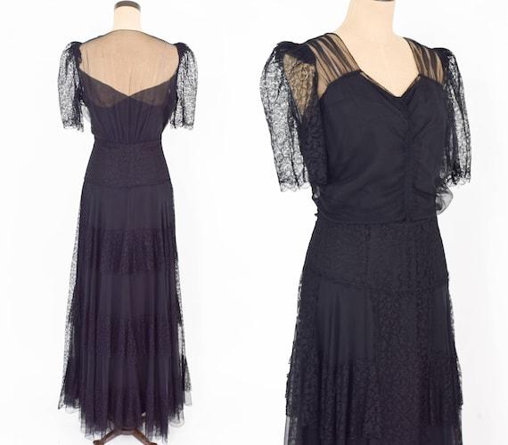 1930s Black Lace Evening Dress   30s Black Chiffon