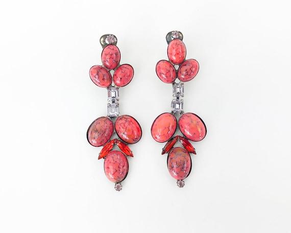50s Orange Glass Earrings   Red Orange Dangle Earr
