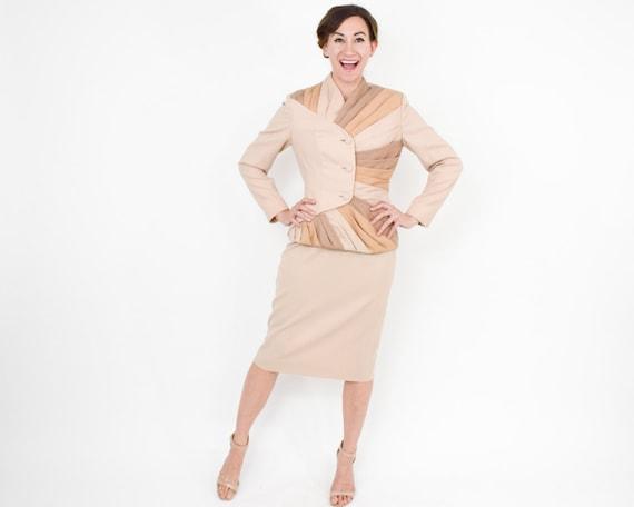 1950s Lilli Ann Beige Suit | 50s Beige Wool Strip… - image 4