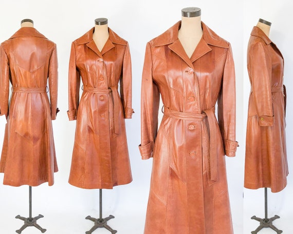 1970s Leather Trench Coats | 70s Long Caramel Mar… - image 5