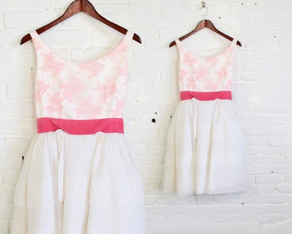 1950s White & Pink Lace Dress | 50s White Chiffon