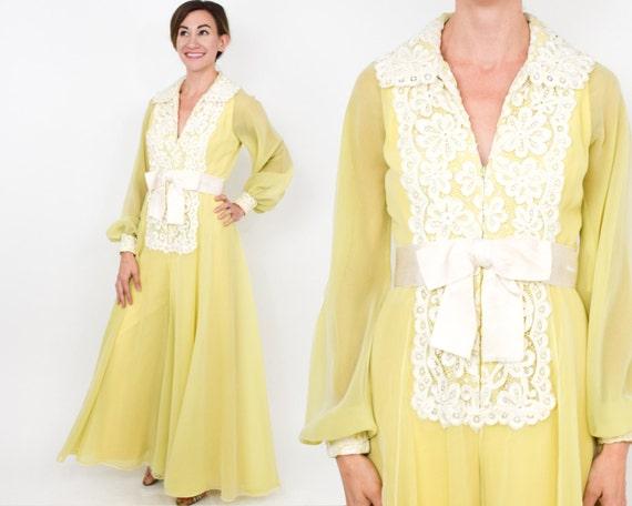 Luis Estevez | 1970s Yellow Palazzo Evening Dress… - image 1