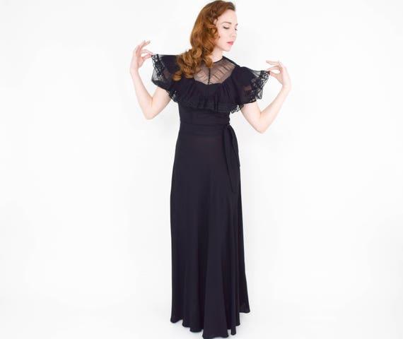 1940s Black Crepe Evening Dress | 40s Black Lace … - image 6