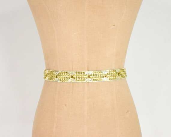 1980s Riveted Gold Leather Belt   80s Gold Leathe… - image 9