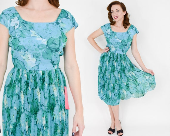 1950s Blue Silk Chiffon Floral Dress | 50s Turquoi