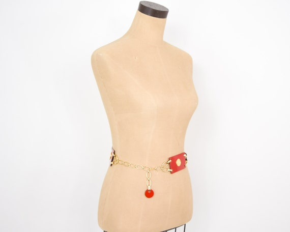1950s Red Leather Belt   50s Red Leather Rectangl… - image 5