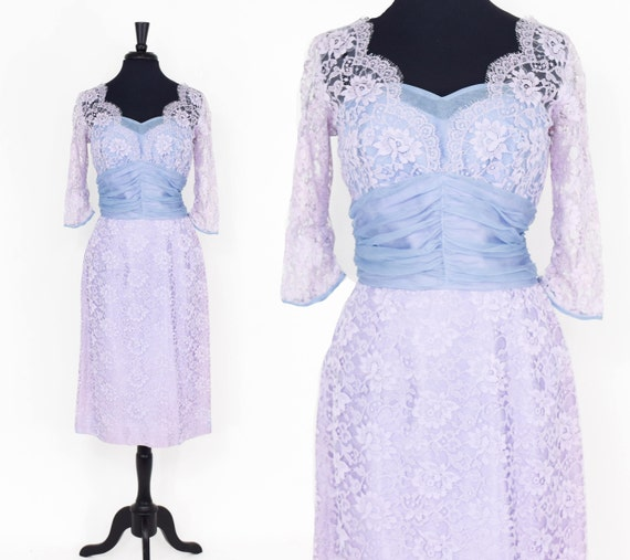 1950s Lavender Lace Party Dress | 50s Lavender Lac