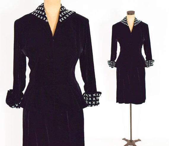 1940s Black Silk Velvet Suit | 40s Black Velvet Sk