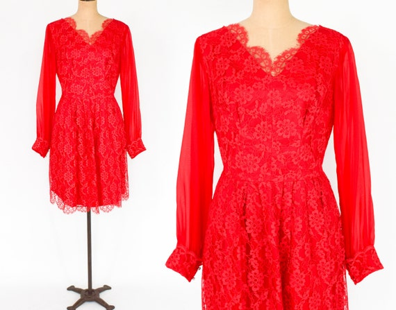 1960s Red Lace Cocktail Dress | 60s Red Lace Party