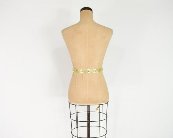 1980s Riveted Gold Leather Belt   80s Gold Leathe… - image 7