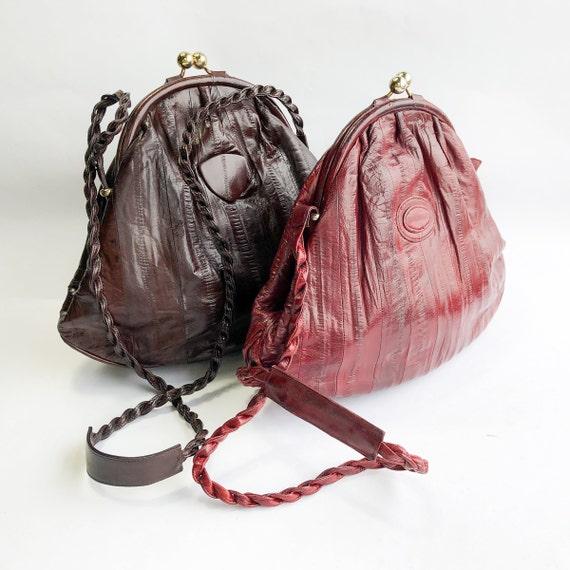 1980s Brown Eel Skin Leather Shoulder Bag   80s M… - image 2