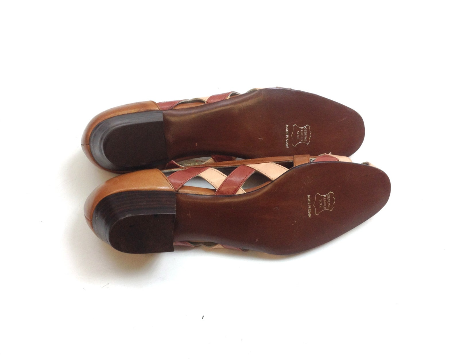 80s brown leather flats | woven leather ballet flats | two-tone leather flats | david murray | us 6 eu 36