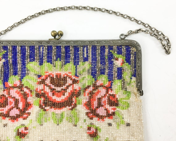 1900s Red Roses Beaded Handbag | Blue & Red Beade… - image 2