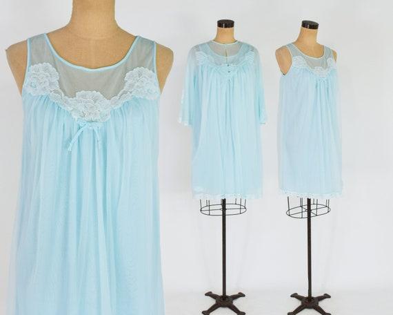 1960s Blue Peignoir Set | 60s Turquoise Blue Short