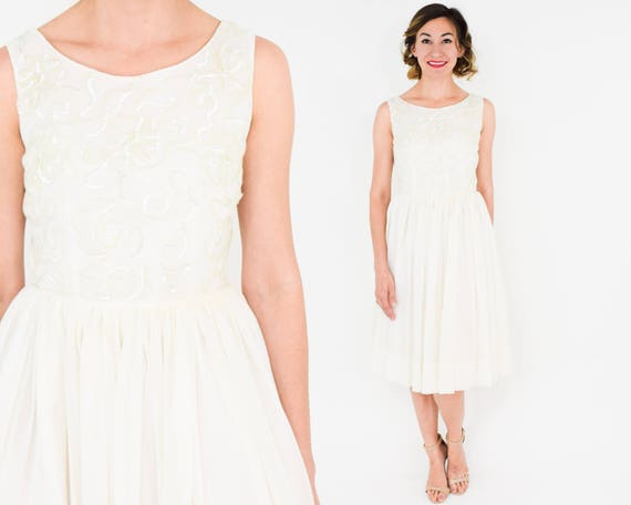 1950s White Chiffon Party Dress | 50s White & Sequ