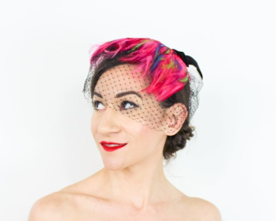 1950s Pink Feather Fascinator | 50s Magenta Feath… - image 2