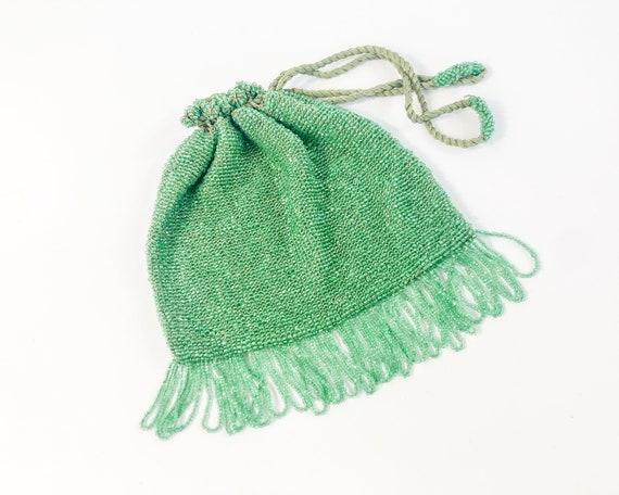 1900s Green Beaded Evening Bag | Green Beaded Pouc