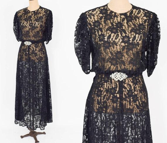 1930s Black Lace Evening Gown | 30s Black Floral L