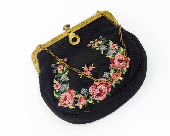 1930s Black Needlepoint Handbag | 30s Black Flower