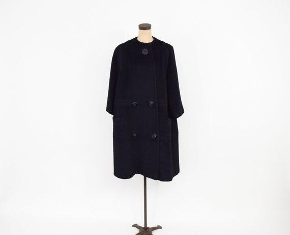 Lilli Ann | 1950s Black Wool Swing Coat | 50s Bla… - image 4