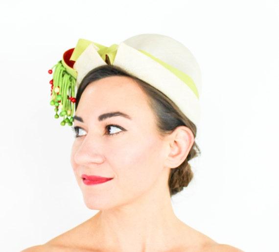 1950s Creme Woven Straw Hat | 50s Beige Straw Hat