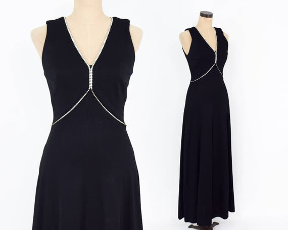 1970s Black Evening Dress   70s Black Rhinestone M