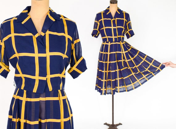 1950s Navy & Yellow Plaid Dress | 50s Navy Plaid C