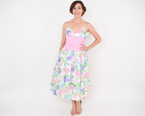 Gunne Sax   1980s Pink Print Party Dress   80s Pi… - image 3