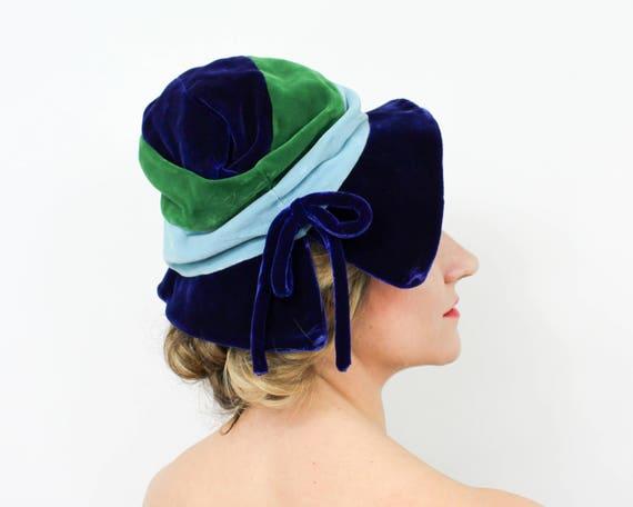 1960s Blue Velvet Slouch Hat | 60s Blue & Green St