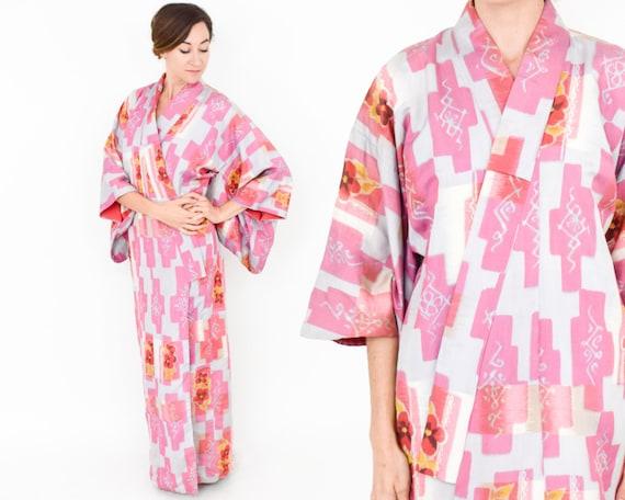 Pink Silk Kimono | Pink Magenta Print Kimono Robe
