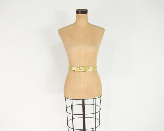 1980s Riveted Gold Leather Belt   80s Gold Leathe… - image 5
