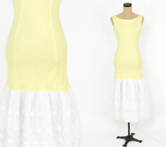 1950s Yellow Linen Dress | 50s Yellow Sleeveless P