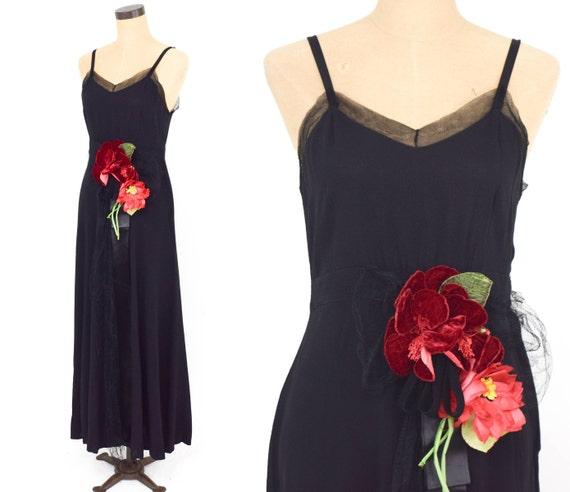 1930s Black Silk Evening Dress | 30s Black Silk Cr