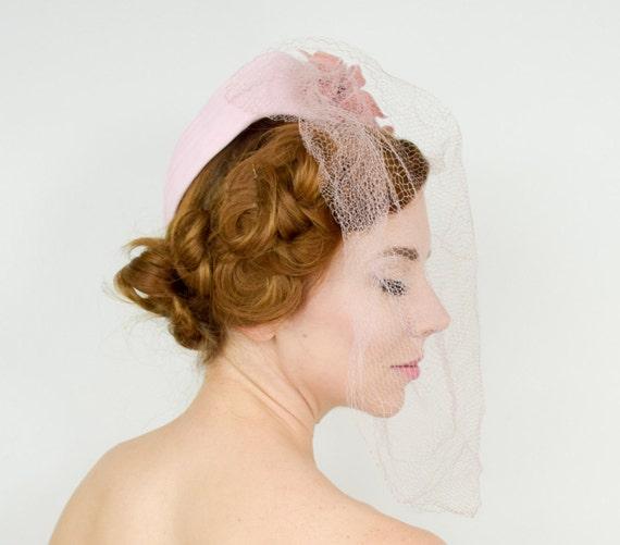 1940s Pink Chiffon Fascinator | 40s Pink Chiffon &