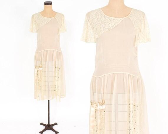 1920s Ivory Silk Chiffon Dress | 20s Ivory Chiffon