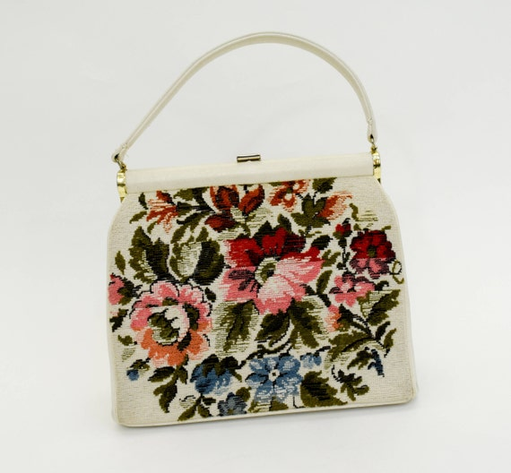 1950s Creme Flowered Handbag | 50s Floral Needlepo