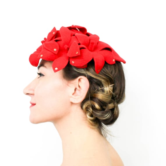 1940s Style Red Flowers Fascinator | 40s-style Red