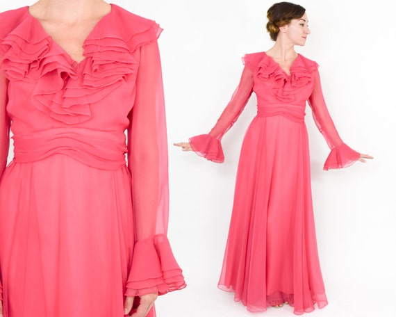 1970s Pink Evening Maxi Dress | 70s Pink Chiffon R