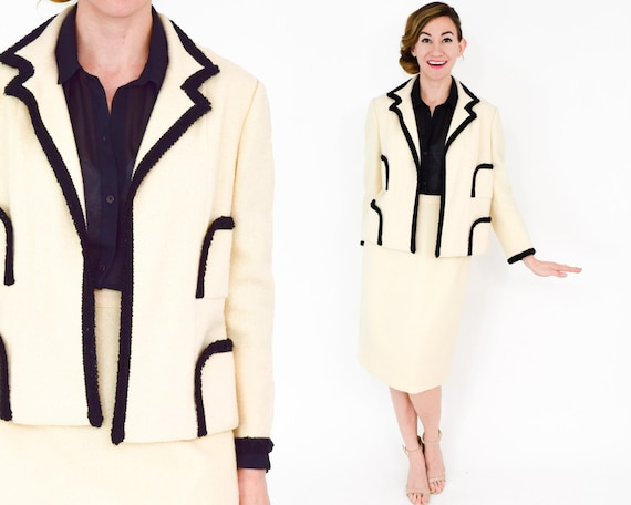Lilli Ann | 1960s White & Black Wool Suit | 60s C… - image 2