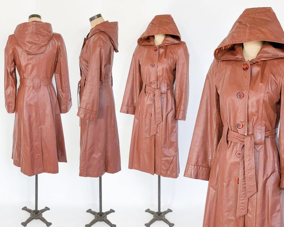 1970s Leather Trench Coats | 70s Long Caramel Mar… - image 2