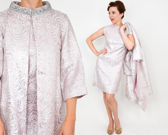 1960s Pink Brocade Dress Coat Set | 60s Pink Metal